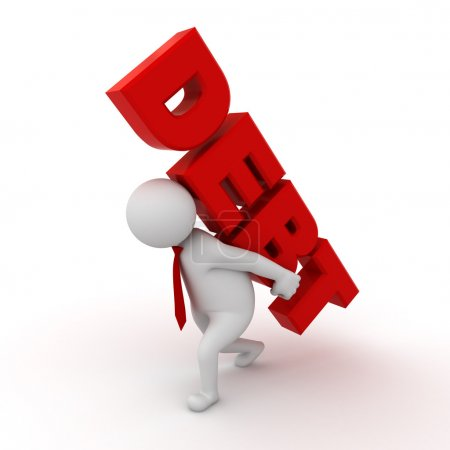 Photo for Debt concept, 3d business man carrying red word debt on his back isolated over white background - Royalty Free Image