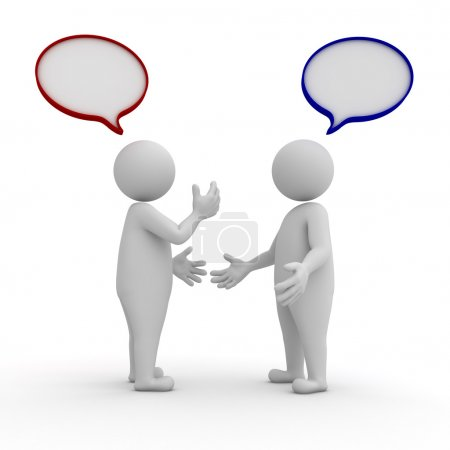Photo for Two standing and talking with speech bubbles on white background - Royalty Free Image