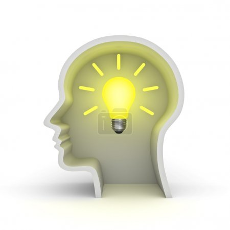 Idea bulb in head shape over white background