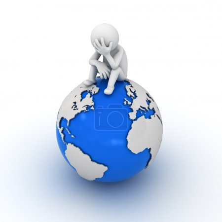 Stressed 3d man sitting on top of the globe