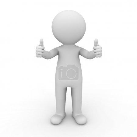 Photo pour 3D homme montrant des pouces vers le haut sur fond blanc - image libre de droit