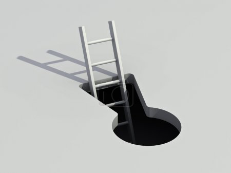 Photo for Keyhole and ladder with shadow business concept - Royalty Free Image