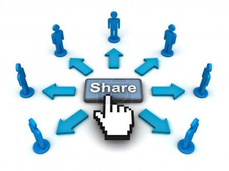 Photo pour En cliquant sur le bouton share sur fond blanc - image libre de droit