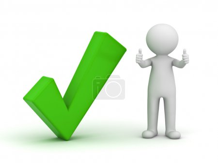 Photo for White 3d man showing thumbs up with green check mark isolated over white background - Royalty Free Image