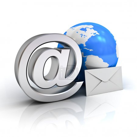 Email sign, blue globe map and envelope on white background