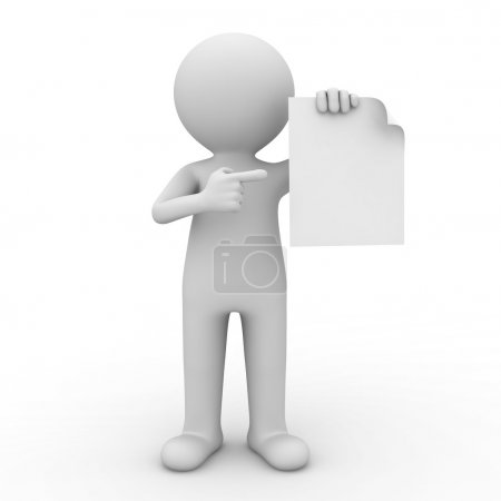3d man showing blank paper and pointing finger at it over white background