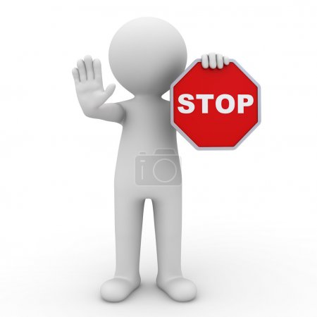 3d man showing stop sign over white background