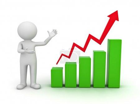 Foto de Hombre blanco 3d presenta gráfico de tabla de crecimiento empresarial sobre fondo blanco - Imagen libre de derechos