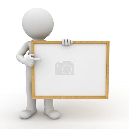 3d man showing blank board