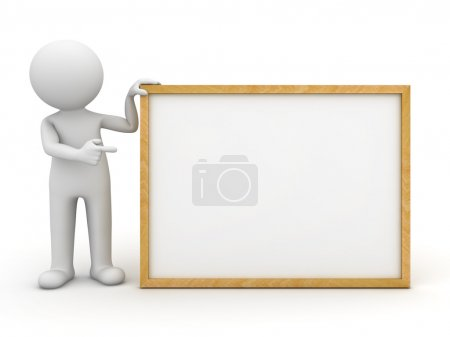 3d man standing with blank board