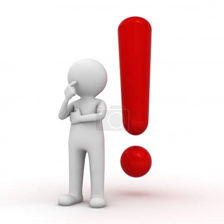 Photo pour Homme blanc 3d avec point d'exclamation rouge sur fond blanc - image libre de droit