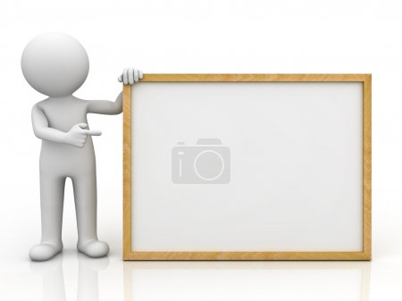 3d man holding blank board and pointing finger at it