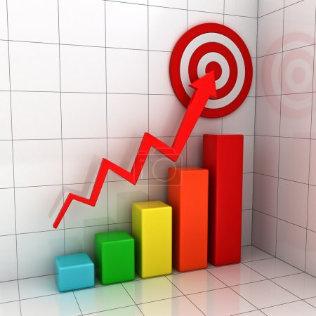 Business target marketing concept , 3d business graph with red rising arrow to the red target