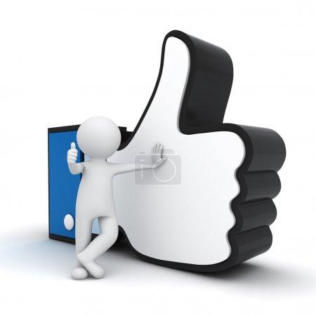 Photo pour 3d homme montrant pouce vers le haut avec comme symbole de la main sur fond blanc - image libre de droit