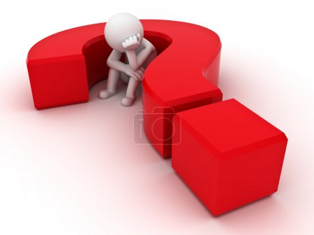 3d man sitting in red question mark