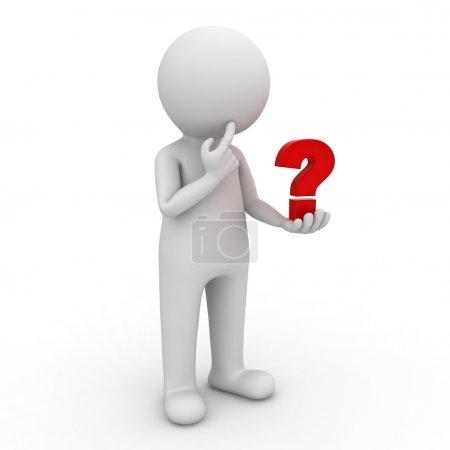 Photo pour 3d homme regardant le point d'interrogation rouge dans sa main et pensant sur fond blanc - image libre de droit