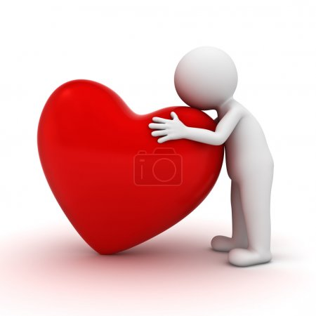 3d man hugging red heart over white background