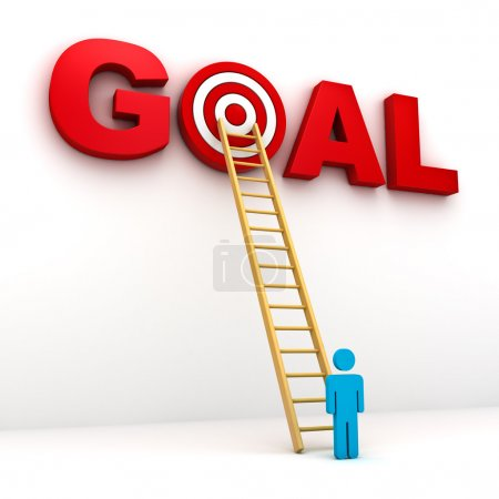 Man aiming to his target in red word goal