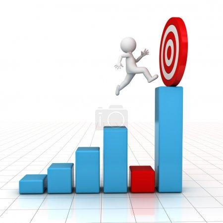 Photo pour 3D Man sauter à travers le problème à son objectif réussi sur le graphique d'affaires sur fond blanc avec réflexion - image libre de droit