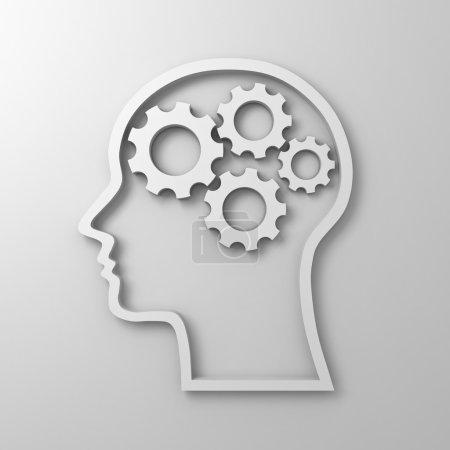 Brain gears in human head shape on white