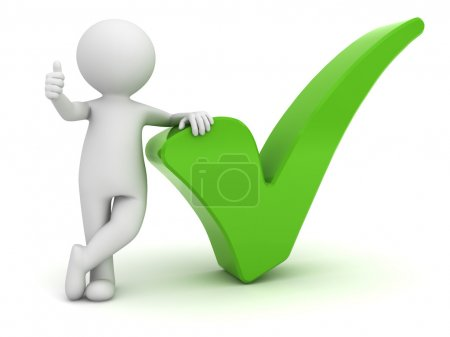 3d man showing thumbs up with green check mark isolated over white