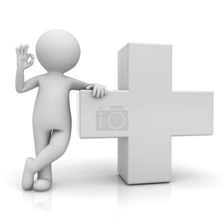 Photo pour 3D homme montrant le geste correct avec blanc signe isolé sur fond blanc avec reflet - image libre de droit