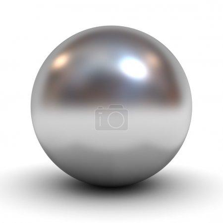 Foto de Esfera de cromo metálico sobre fondo blanco - Imagen libre de derechos