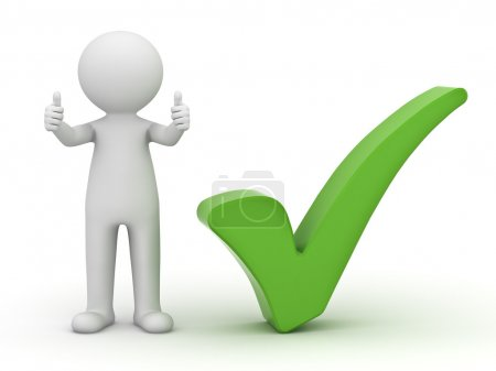 3d man showing thumbs up with green check mark on white