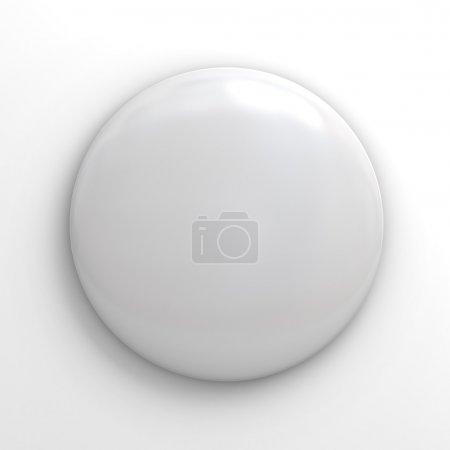 Photo pour Bouton badge blanc sur fond blanc - image libre de droit