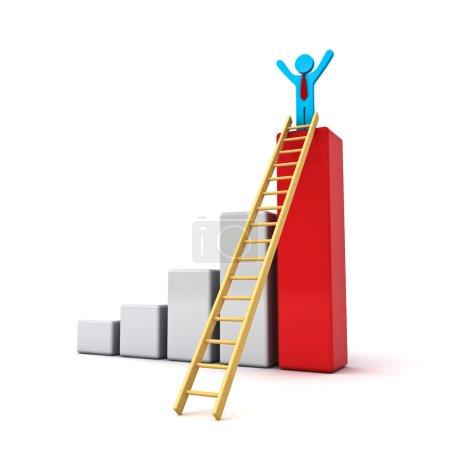 Photo pour Homme d'affaires debout avec les bras grands ouverts au sommet de l'entreprise de croissance diagramme à barres rouge avec échelle bois isolé sur fond blanc - image libre de droit
