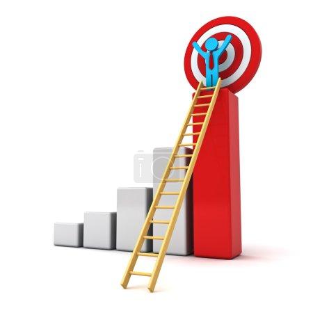 Photo pour Homme d'affaires 3D debout avec les bras grands ouverts au sommet de l'entreprise de croissance diagramme à barres rouge avec échelle de bois et de la cible derrière isolé sur fond blanc, concept d'entreprise - image libre de droit