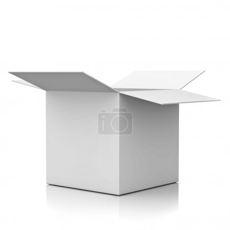 Photo for Blank opened cardboard box isolated over white background with reflection - Royalty Free Image