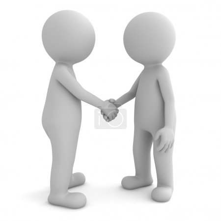 3d people shaking hands isolated on white