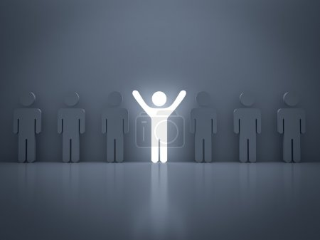 Photo for Stand out from the crowd and different concept , Light man standing with arms wide open with other people - Royalty Free Image