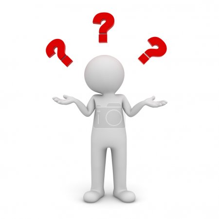 3d man standing and having no idea with red question marks above his head isolated over white