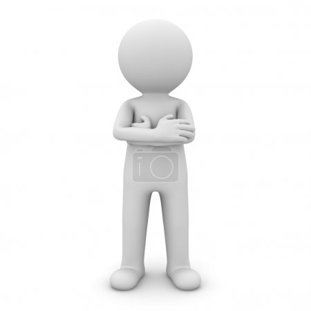 3d man standing with arms crossed over white