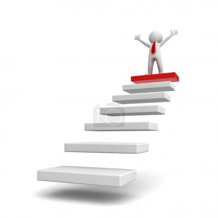 Success concept, 3d business man standing with arms wide open on top of steps