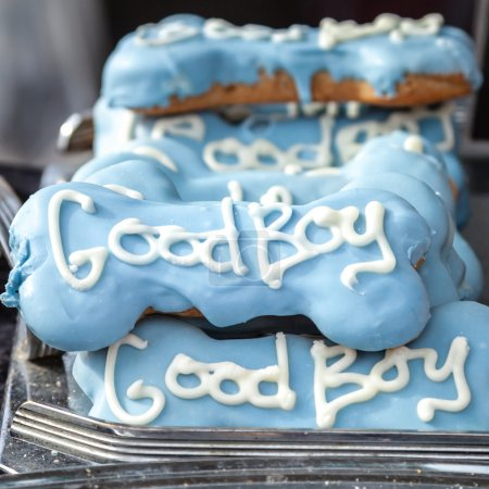 Quality Decorative Blue Dog Treats with White Words Good Boy
