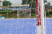 Bílá fotbalová čisté, zelené trávě, futsal cíl