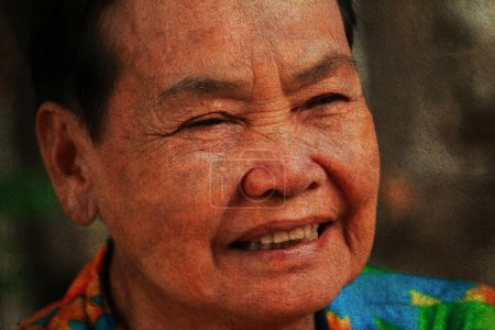 closeup portrait of happy old woman
