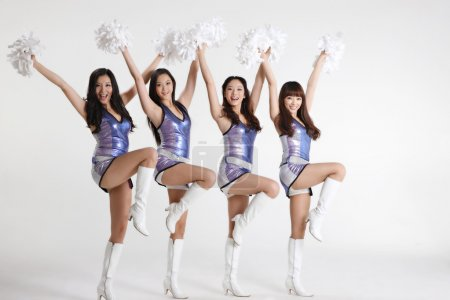 Four asian cheerleaders
