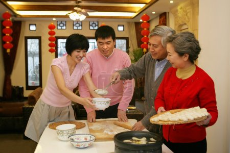 A shot of Chinese family reunion in the house