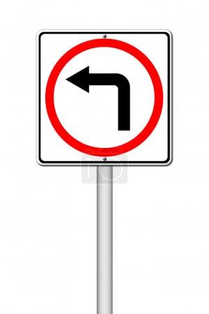Photo pour Virage à gauche panneau de signalisation sur fond blanc - image libre de droit