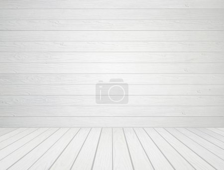 Photo for Room interior with white wood wall and wood floor background - Royalty Free Image