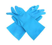 Domácí ochranné gumové rukavice izolovaných na bílém pozadí