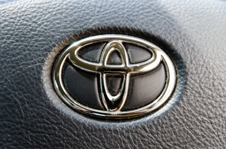 Logo of Toyota Camry car on display.Toyota Group is best known t