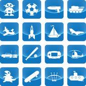 Spielzeug für Jungen-Symbol auf der blauen Taste