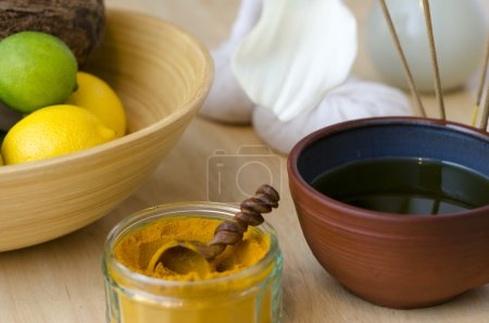 An arrangement of spice, oil and massaging tools