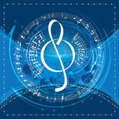 Music background with decorative treble clef vector illustratio