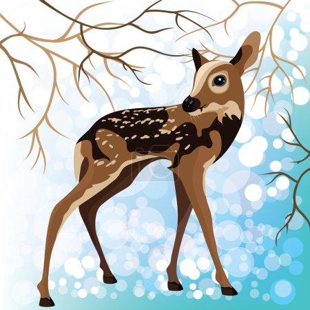 Jeune cerf dans une forêt d'hiver, illustration vectorielle